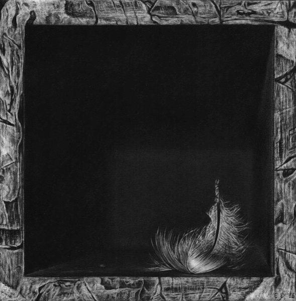 Emanuele Dascanio, Hermes, 2016, grafite e carboncino su carta, 15 x 15 cm