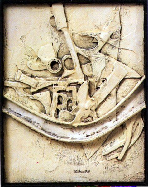 Lucio Del Pezzo, Senza titolo, 1962, tecnica mista su tela, 45,5x35,5 cm