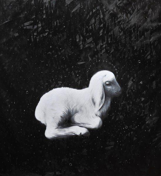 Omar Galliani, Agnus Dei, 2016, olio su tela, cm. 230x210