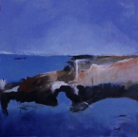 Marina con costiera, mista su tela, cm. 100x100, 2015