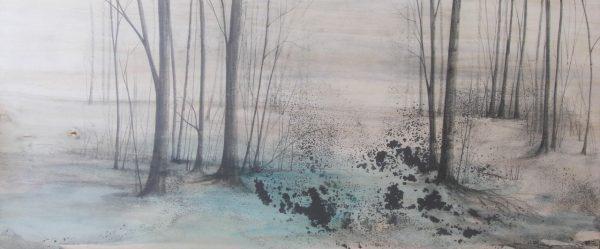 MARIKA VICARI, Il suono della natura, 2016, grafite e acquerello su tavola, 120 x 50 cm