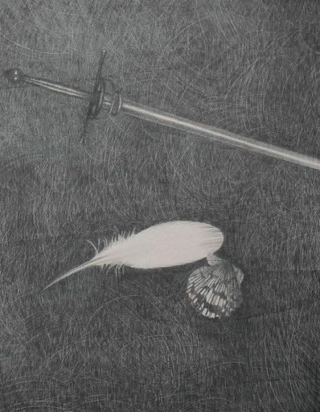 Omar Galliani, Genealogie dell'ombra, 2017,  matita su tavola, cm 300x200