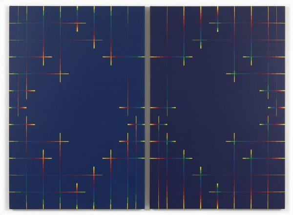 Paolo Minoli, Tempo A e Tempo B, 1988, acrilici su tela, cm. 120x160, foto Dario Lasagni