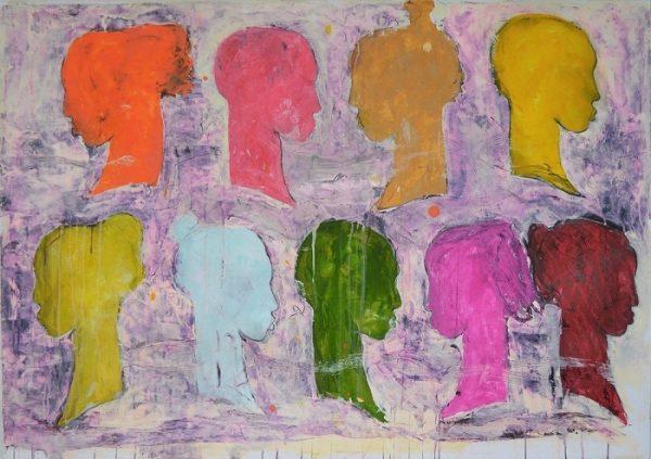 Angelo Colagrossi, Belle sagome, acrilici su carta cm 100x140
