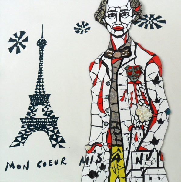Orodè Deoro. Mon coeur mis à nu. 2017. Mosaico ceramico e pittura su gres laminato stampato. Cm 100x100