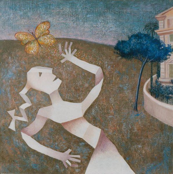Enrico Benaglia, I colori che fuggono, olio su tela cm 80x80