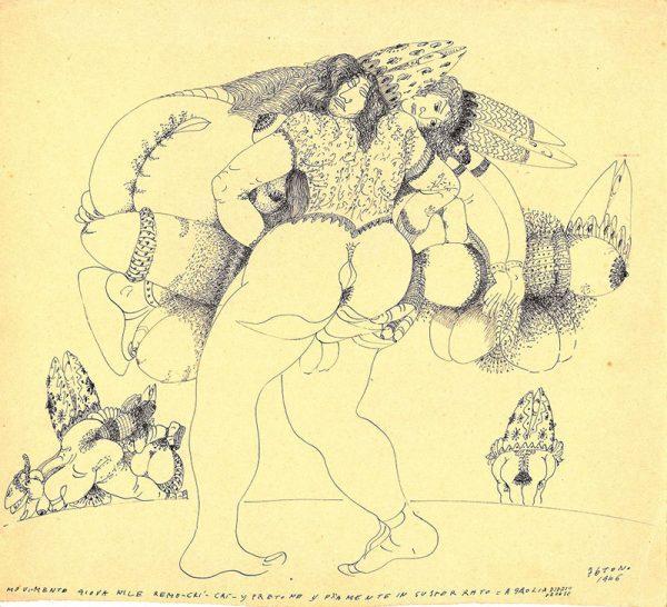 Tono Zancanaro, Movimento giovanile Remo - crì crì, 1946, china a tratto, cm 28x33