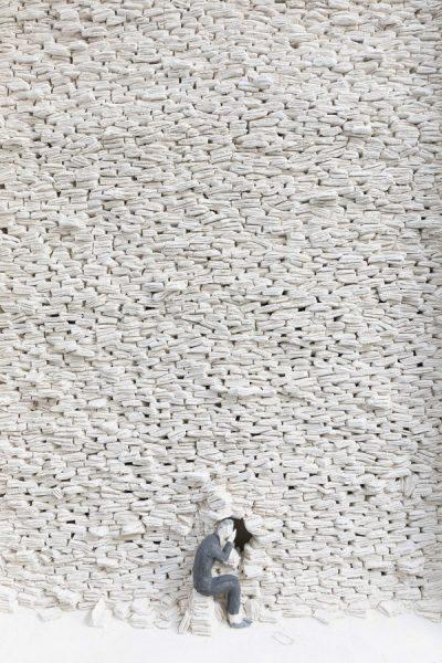 Pino Deodato, San Tommaso (part.), 2018,  terracotta policroma a ingobbio, cm 34x35x7