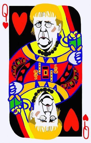 Giulia Maglionico, Poker Face, Donna di Cuori, 2017, tecnica mista su tela, cm. 130x83