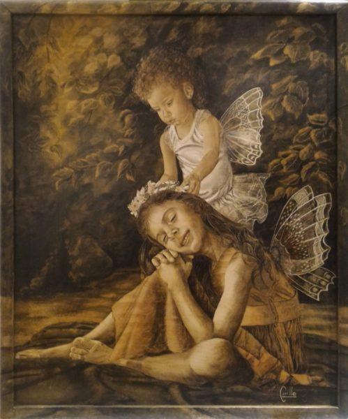 Susana Cirille - Angeladas, intarsio cm 50x60