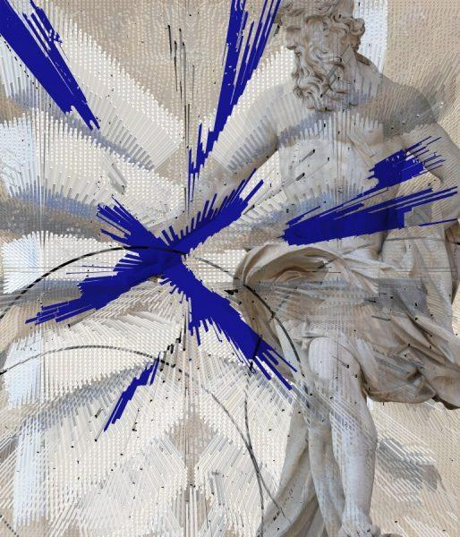Antonio Mazzetti - La fonte sacra - electro-collage, acquerelli e getto d'inchiostro su carta cotone