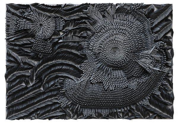 Amanda Chiarucci, Magma Cristallino, opera dedicata a mio padre, 2017, altorilievo Golden Venture, carta Bristol Fabriano, cm. 111x116x16