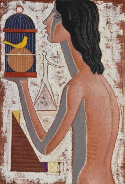 Mario Tozzi, La ragazza del canarino, 1972, olio su tela, cm. 73x50