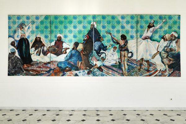 Aldo Mondino, Festa araba, 1985, olio su linoleum, cm. 190×560