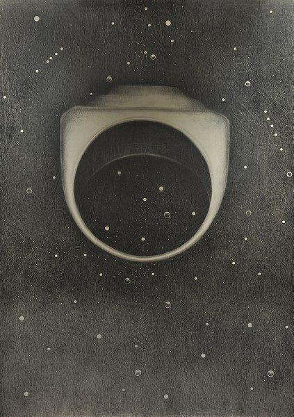 Omar Galliani, L'anello di Berenice, 2019, grafite su tavola, cm. 232x160