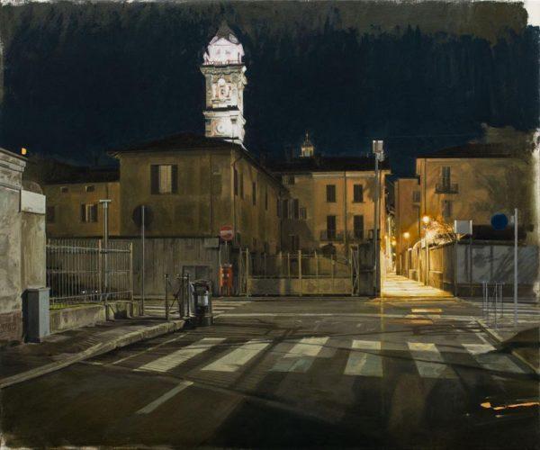 Nicola Nannini, Notte nessuno in giro, 2019, olio su tela