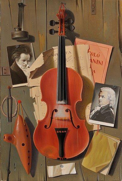 Alfredo Serri, Natura morta con violino e ocarina, olio su tela, cm. 60,5x40,5