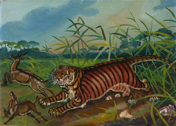 Antonio Ligabue, Tigre, II periodo (1939-1952), olio su faesite, cm. 40x52