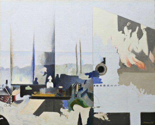 FERRONI, Interno, paesaggio e piccolo incendio, 1965, olio su tela, cm 67x83
