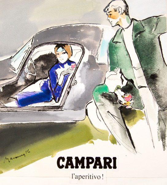 Franz Marangolo, Anni 50, china acquarello e collage su cartoncino