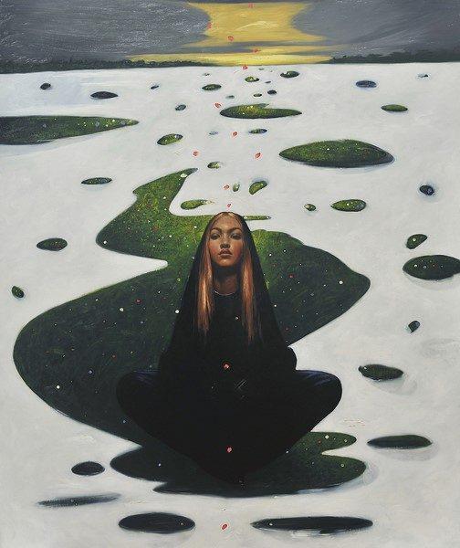 Omar Galliani, Annunciazione, 2019, olio su tela, cm 235x196