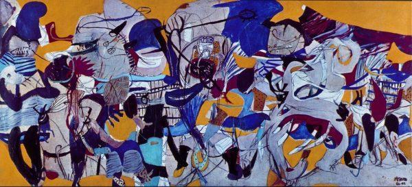 Helmut Sturm, Infernalezza, 1962-63, tecnica mista su tela, cm. 138x300. CAMeC La Spezia, collezione Cozzani