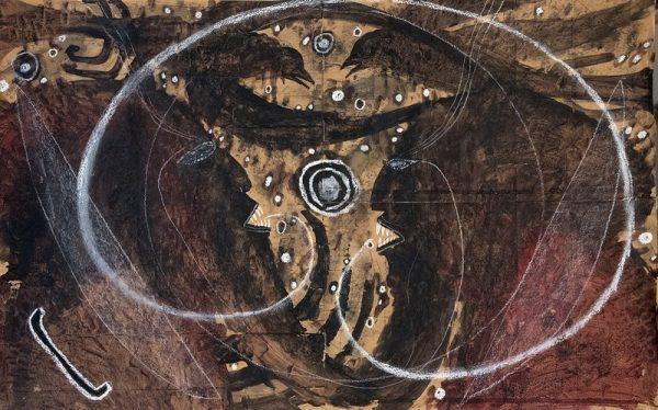 François Burland, Au Coeur des ténèbres, 2007, tecnia mista su carta, cm 62,5x99