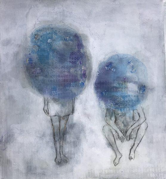 Ludmila Kazinkina, Senza titolo, 2019, olio e tecnica mista su carta, cm. 25x23