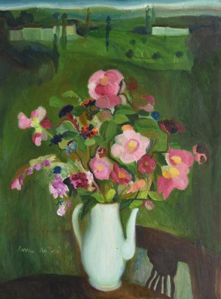 Anna Cantoni, Le rose selvatiche di Monteduro, 1960, olio su tela