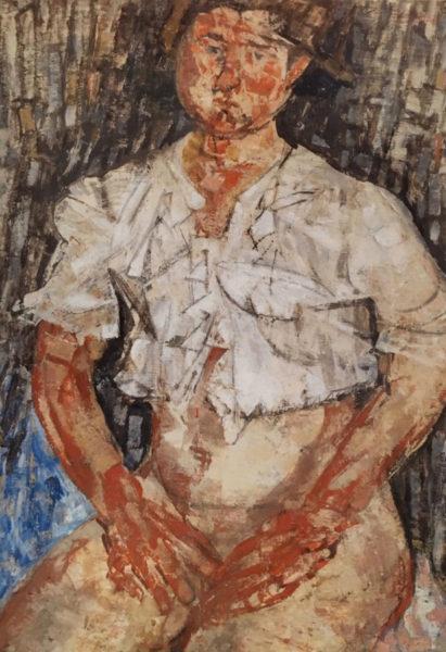 Fausto Pirandello, Ragazza con Matinée, 1952, olio su cartone, cm. 71x52